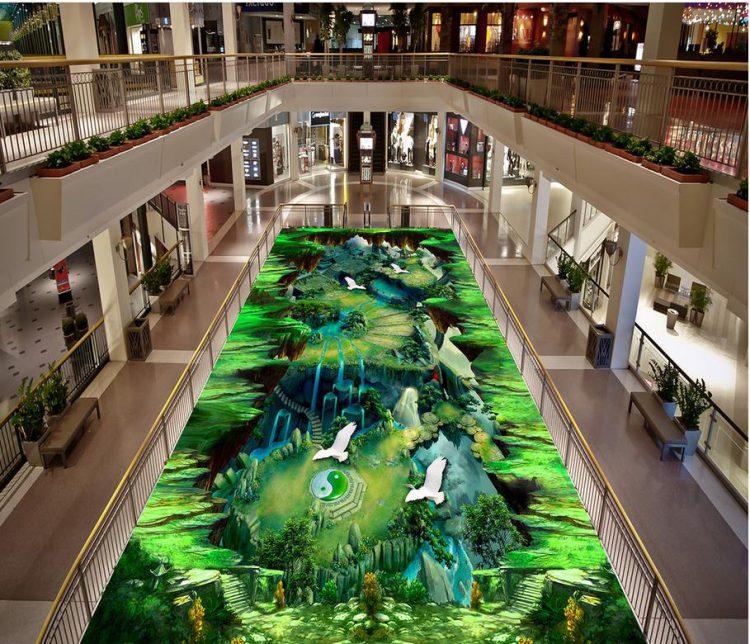 Hình ảnh sàn 3D tại đại sảnh,hành lang các siêu thị