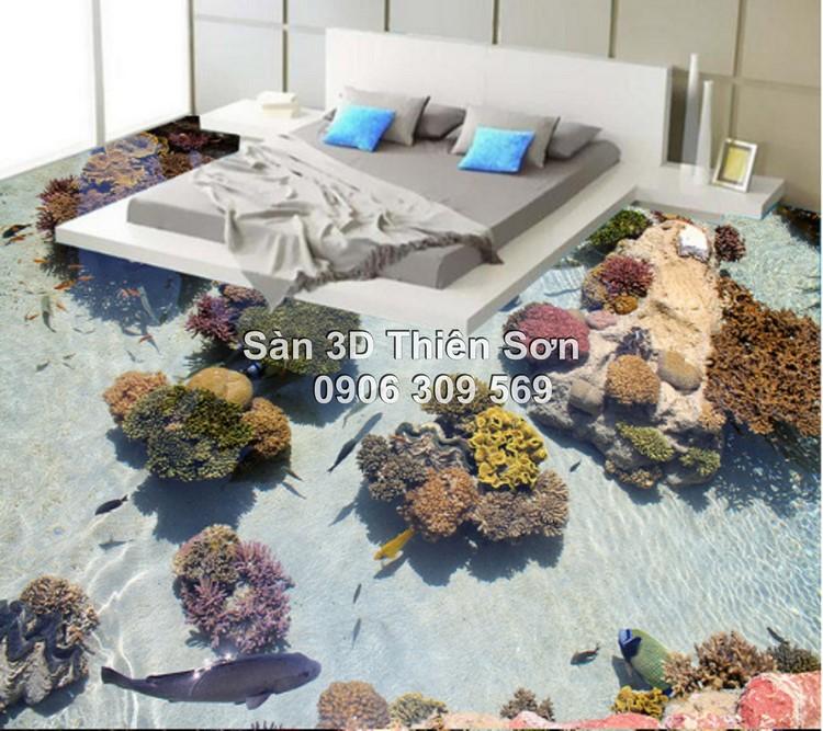 Phòng ngủ được trang trí sàn 3D