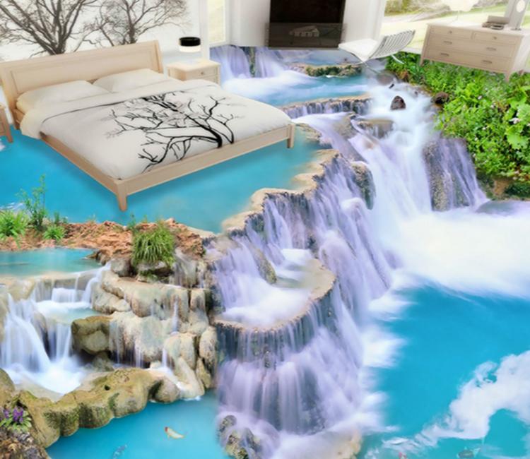 Hình ảnh thác nước được dùng dùng thi công sàn 3D