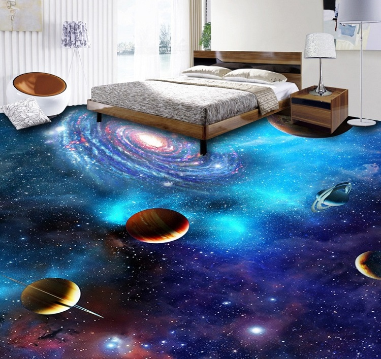 Sàn 3D với khung cảnh vũ trụ rộng lớn