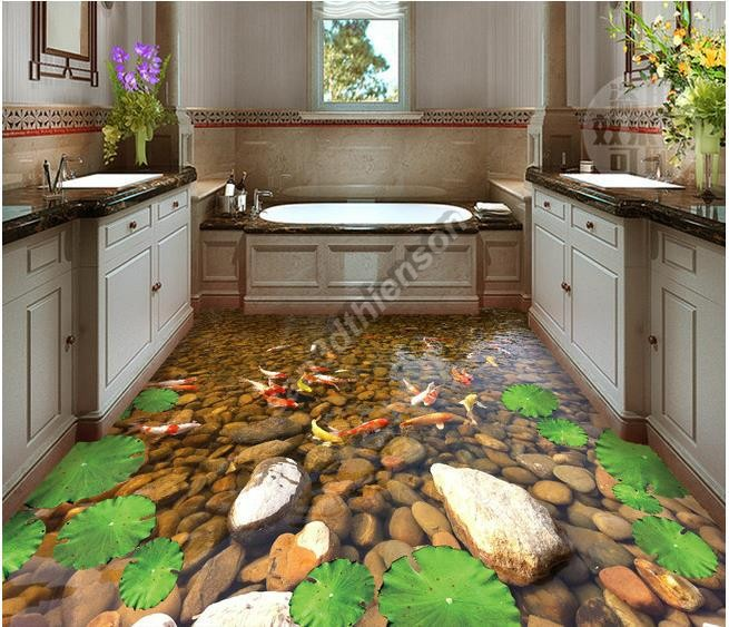 Phòng tắm mát lạnh với suối, cá chép và hoa sen