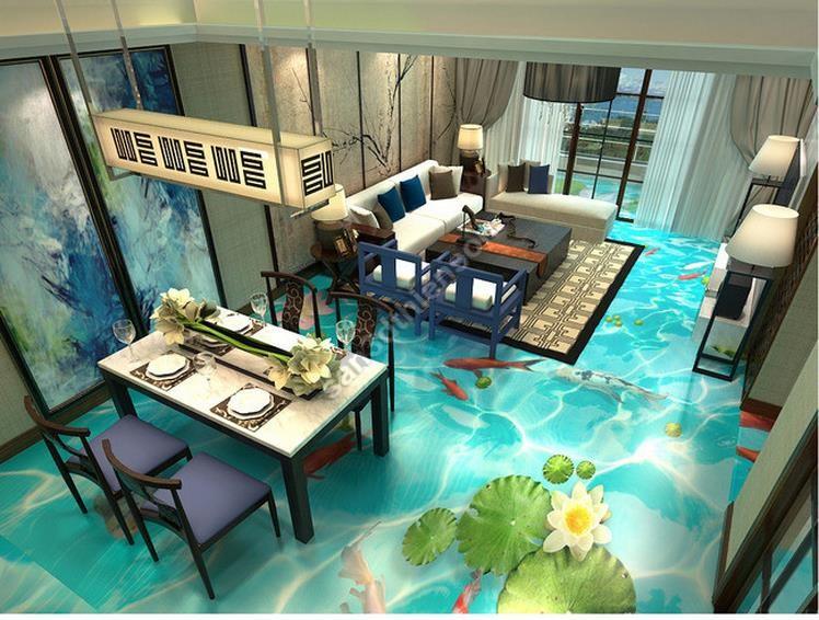 Phòng khách trở thành đại dương với nội thất sàn 3d