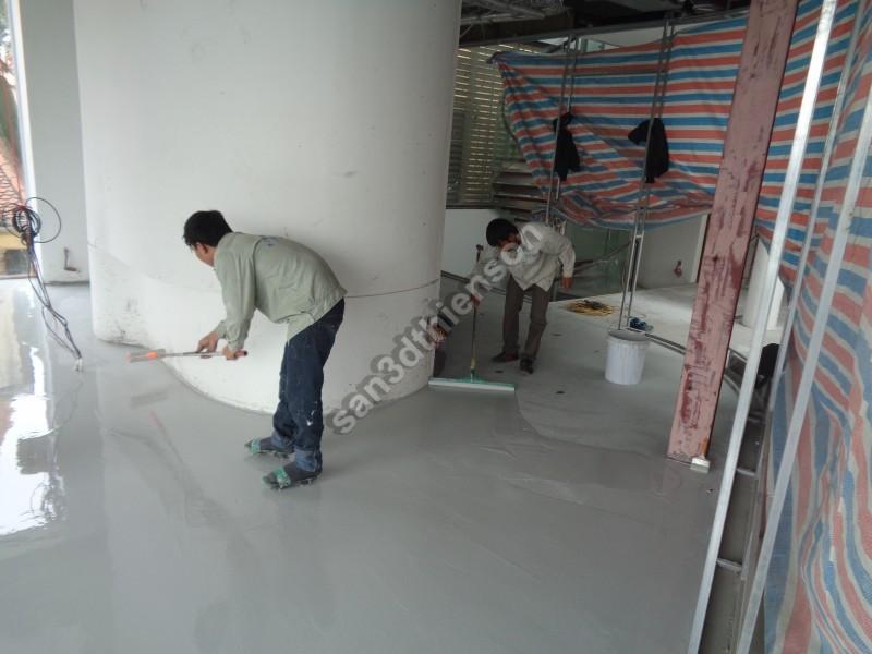 Xử lý lớp đệm tạo phẳng trước khi thi công sàn 3d